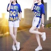 運動套裝女夏新款短袖韓版寬松潮流休閑服短褲時尚洋氣兩件套MB142.胖丫