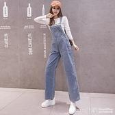 泫雅牛仔吊帶褲女vintage寬鬆顯瘦2019秋季新款吊帶減齡闊腿褲潮