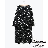 「Hot item」棉麻混紡點點圖案後收腰綁結洋裝 (提醒→SM2僅單一尺寸) - Sm2