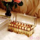 化妝品收納盒歐式金色玻璃24格口紅收納盒...