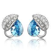 水晶耳環 925純銀(耳針式)-相思葉鑲鑽生日情人節禮物女飾品4色73bd82[時尚巴黎]