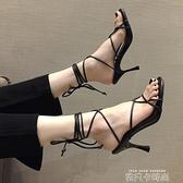 涼鞋女仙女風少女高跟鞋夏季新款綁帶細跟羅馬鞋時裝涼溫柔鞋 依凡卡時尚