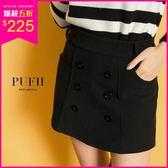 現貨 PUFII-褲裙 簡約排釦彈力毛呢短褲裙-1129  冬【CP15669】