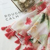 波西米亞民族風絲巾女百搭紗巾流蘇花朵印花長款圍巾空調防曬披肩艾美時尚衣櫥