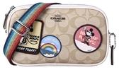 COACH 女包迪士尼系列卡深咖色PVC單肩斜挎包