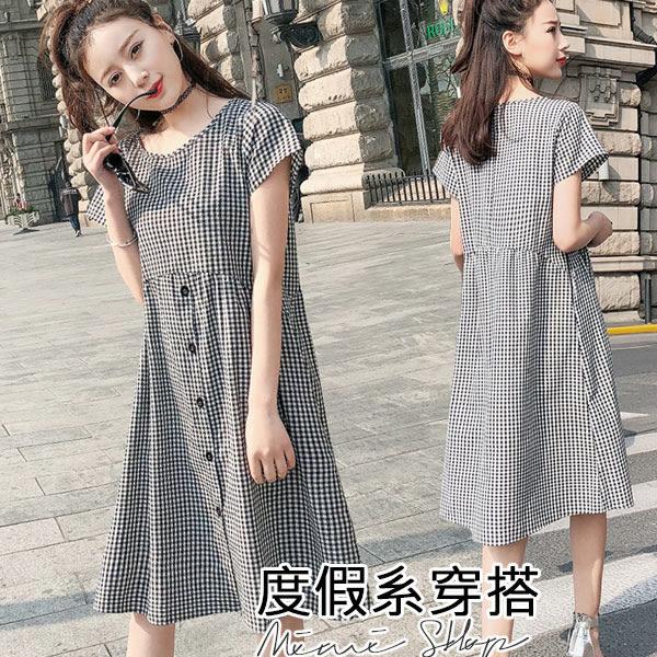 孕婦裝 MIMI別走【P52709】我的甜蜜假期 日系格紋連衣裙 孕婦裙