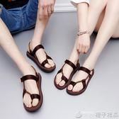 男士涼拖鞋厚底休閒鞋夏季兩穿防滑人字拖男女情侶沙灘鞋潮涼鞋男   橙子精品