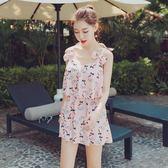 泳衣女三件套韓國溫泉小香風裙式保守遮肚小胸聚攏顯瘦學生游泳衣      柠檬衣舍
