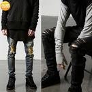新品特惠# 歐美高街 膝蓋大破壞 純黑色水洗做舊修身小腳 彈性牛仔褲 男