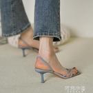 細跟高跟涼鞋 細跟鞋女夏季性感新款夾趾高跟鞋涼鞋仙女士法式真皮羅馬涼鞋 阿薩布魯
