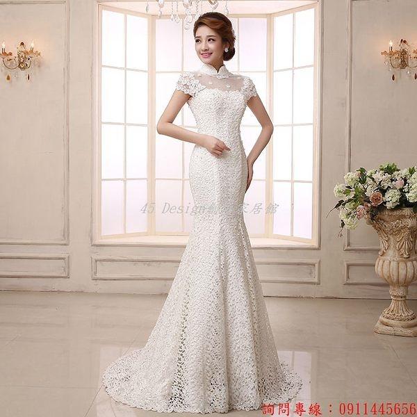 (45 Design) 空運 預購7天到貨 新款高檔蕾絲婚紗禮服時尚結婚一字肩複古新娘魚尾拖尾韓版