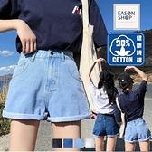 EASON SHOP(GW5763)實拍純棉水洗丹寧多口袋收腰牛仔褲女高腰短褲休閒褲顯瘦直筒褲寬褲顯腿長白熱褲