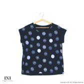 【INI】視覺風采、滿版造型圓點印花上衣.黑色