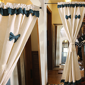 可愛時尚棉麻門簾E438 廚房半簾 咖啡簾 窗幔簾 穿杆簾 風水簾 (150寬*180cm高)