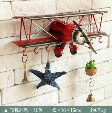 美式鐵藝飛機壁掛創意家居客廳玄關衣帽掛鉤個性咖啡廳店鋪裝飾品