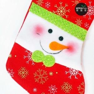 摩達客11吋雪花造型聖誕襪兩入組(雪人+熊熊)