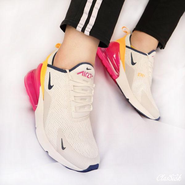 【現貨折卷後3499】NIKE Wmns Air Max 270 女鞋 白 桃紅 橘 氣墊 休閒鞋 AH6789-106