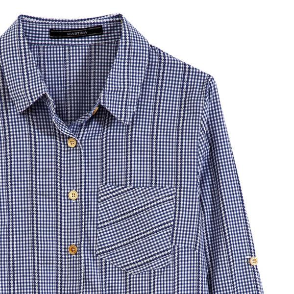 【MASTINA】格子刺繡襯衫-藍 0524