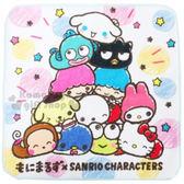 〔小禮堂〕Sanrio大集合 圓角小方巾《白.Q版大臉.星星》100%純棉 4992272-62050