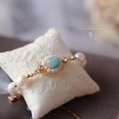 米蘭 法式少女復古手錬 珍珠精致花紋手鐲 優雅氣質天然石手釧首飾女