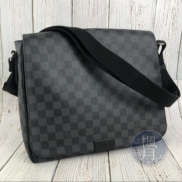 BRAND楓月 LOUIS VUITTON LV N41272 黑色 灰色 黑灰 棋盤紋 DISTRICT MM 斜背包