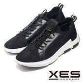 XES 針織燕子紋運動鞋 異材質透氣舒適運動鞋_黑色