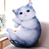 抱枕 可愛仿真貓咪毛絨公仔長抱枕3d立體床上抱著睡覺娃娃生日禮物女孩