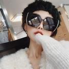 韓版大框不規則黑色偏光墨鏡女大臉個性百搭防紫外線太 洛小仙女鞋