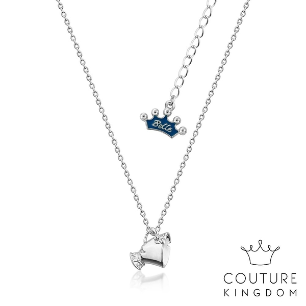 Couture Kingdom 迪士尼美女與野獸 茶杯阿齊鍍14K白金項鍊 Beauty and the Beast Necklace