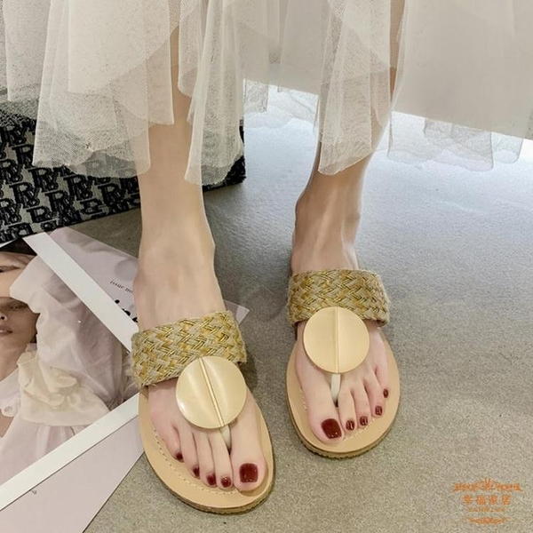 人字拖 低跟外穿編織拖鞋女2021年夏季新款休閒沙灘鞋平底夾趾人字拖鞋女