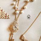 《花花創意会社》【H0294】大寶石皇冠鑰匙 珍珠點點 雙層長項鏈