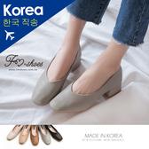 跟鞋.V口方頭高跟鞋(黑、灰藍)-FM時尚美鞋-韓國精選.Autumnal