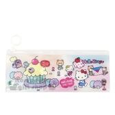 〔小禮堂〕Hello Kitty 長方形防水夾鏈袋《粉藍.杯子蛋糕》收納袋.筆袋 4712937-66975