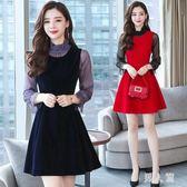 背帶裙套裝秋季女裝長袖連身裙韓版背帶裙兩件套女裝 zm11022『男人範』