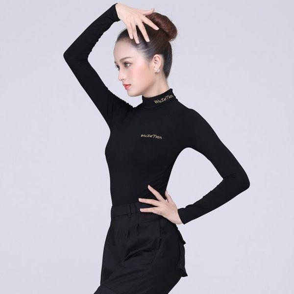 加絨秋冬拉丁舞長袖高領男女成人國標舞摩登舞服裝舞蹈練功服上衣