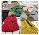 [預購]新款兒童帽子秋冬季百搭針織帽保暖針織毛線帽寶寶兔毛球套頭帽 (I0044)