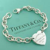 【奢華時尚-經濟部金網獎得獎網站】Tiffany& Co. RTT Heart 心牌刻字款手鍊 #4163