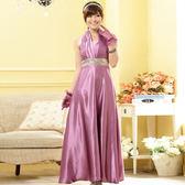 9901-JK高雅名伶~ 繞頸綢緞質感亮片圍腰長禮服-美之札