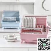 廚房帶蓋雙層碗筷瀝水架收納箱大號放碗盤筷勺置物架翻蓋漏水碗柜【happybee】
