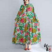 大尺碼洋裝寬鬆復古中國風超大尺碼中長款棉麻連身長裙 618降價