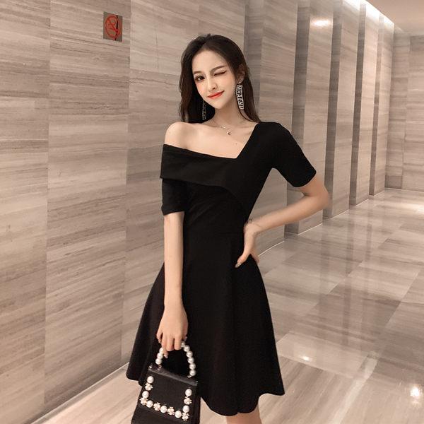 VK旗艦店 韓系露肩顯瘦性感一字領復古禮服短袖洋裝