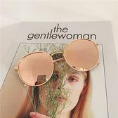 簡約風百搭情侶款偏光大框墨鏡女圓臉顯瘦太陽鏡復古圓形眼鏡男潮 焦糖布丁