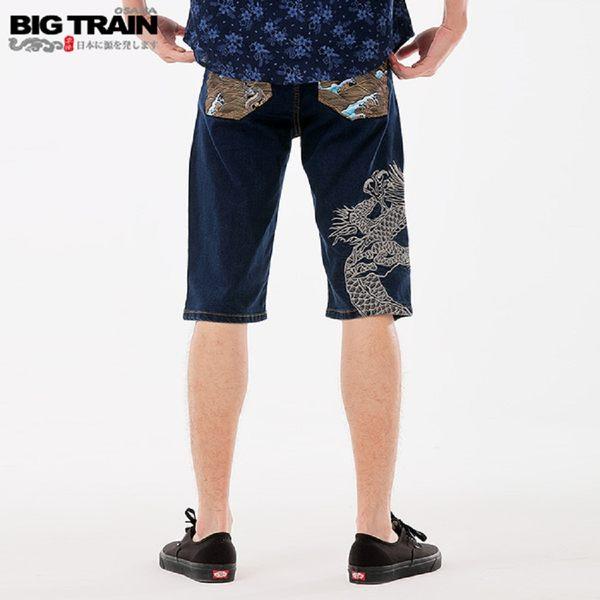 BigTrain加大跨版海龍刺繡配布五分褲-男-深藍