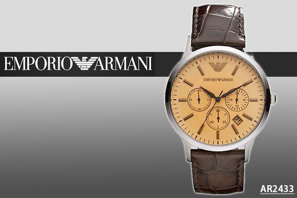 【時間道】[ARMANI。錶]亞曼尼帥氣時尚三眼咖啡皮腕錶 –香檳金面(AR2433)免運費