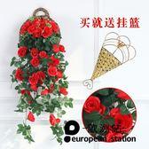 仿真花藤/玫瑰壁掛墻面裝飾綠植吊頂壁掛