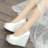 坡跟魚嘴涼鞋女12cm超高跟鞋厚底防水台夏季百搭內增高女式單鞋潮 99狂歡購物節