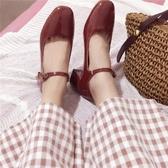 瑪麗珍鞋女復古2019淺口一字扣單鞋粗跟方頭中跟仙女鞋ins小皮鞋 韓流時裳