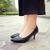 皮鞋女 百麗尖頭職業鞋中跟單鞋工作鞋女黑色高跟鞋 正裝皮鞋春秋季 芭蕾朵朵