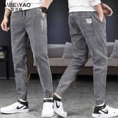 牛仔裤-夏季薄款束腳牛仔長褲子男士休閒春款2020年新款高端韓版潮流百搭