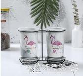 筷子筒  火烈鳥筷子筒瀝水家用筷子桶筷子盒收納置物架陶瓷雙筒筷子籠 『 歐韓流行館』